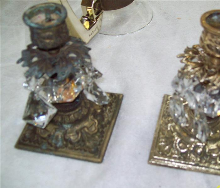 Fire Damaged Candlesticks Before